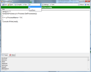 FastSharp: Compile dan Run VB, C# And F# Code Tanpa Install Visual Studio
