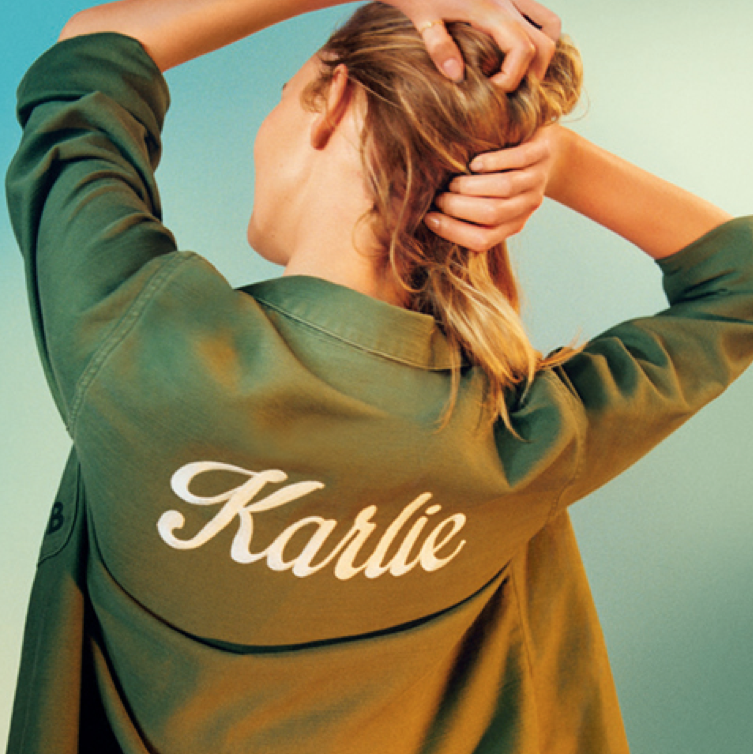 Supermodel Karlie Kloss lands a 2016 campaign for Topshop, wearing a custom army jacket with her name.  Score.