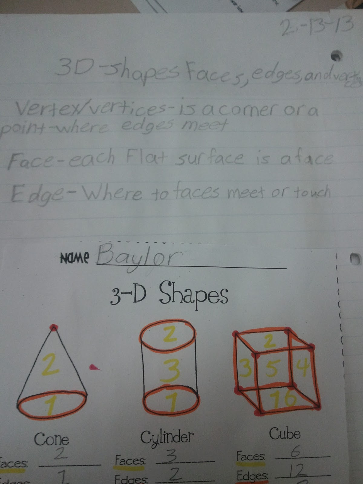 Teaching With Class Formerly MissThirdGrade 3D Shapes – Faces Edges and Vertices Worksheet