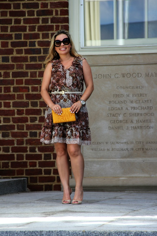 Dress from Brasil -Morena Rosa, Yellow Clutch - TJ Maxx, Besarra Peep-Toe Pumps - Aldo, Mid Rings, Sunglasses - Prada Baroque Round and Silver Color Golden Stainless Steel Camille Chronograph - Michael Kors