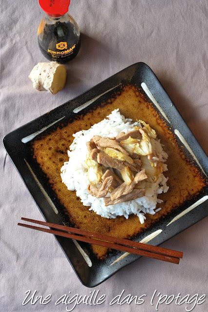 Porc shogayaki, porc sauté au chou et au gingembre