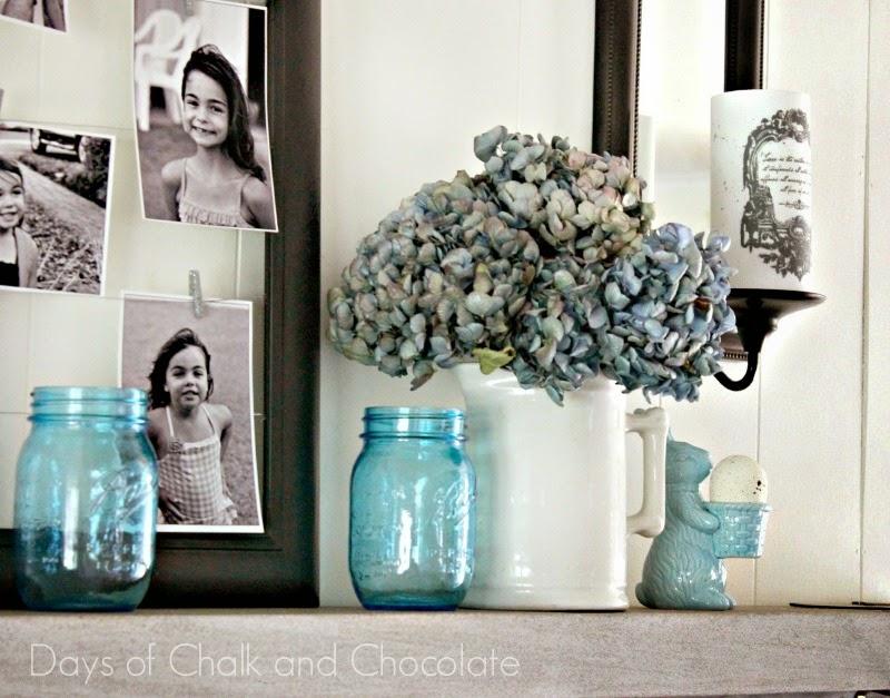 mason jars hydrangeas