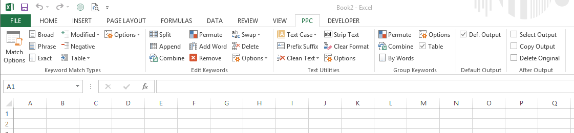 Keywords Editor, Excel PPC Keywords Tool