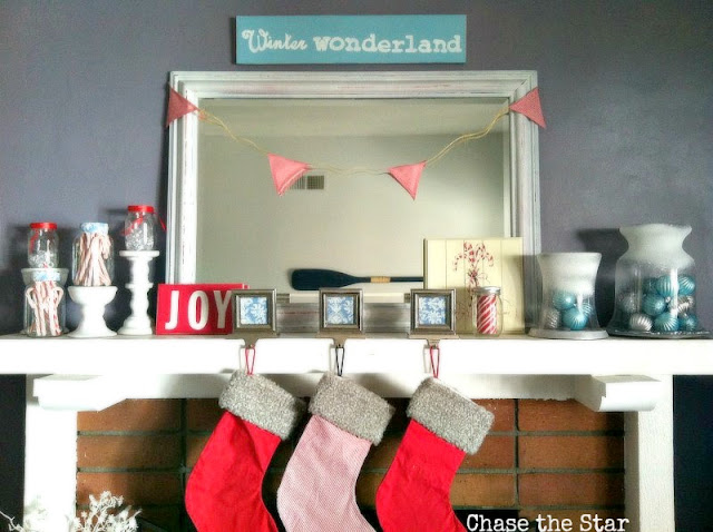 winter, christmas, mantel, wonderland, diy, crafts, candy canes, jars, mason, pillars, bottles, stockings, fabric