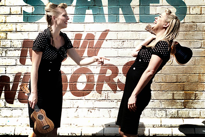 The Mersey Belles Ukulele Duo laughing