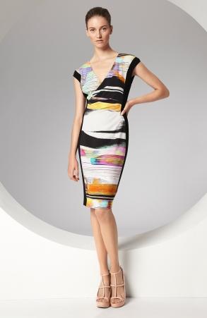 escada desenli baskılı elbise