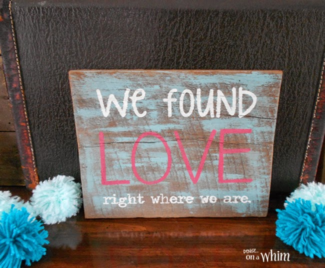 Salvaged Wood Valentine Sign from Denise on a Whim