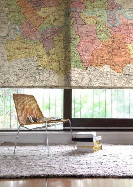 roleta z motywem mapy motyw podróżniczy Eco Manufaktura