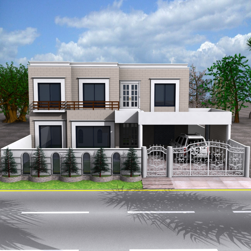 Front Elevation Of House With Porch : D front elevation traditional modern house plans