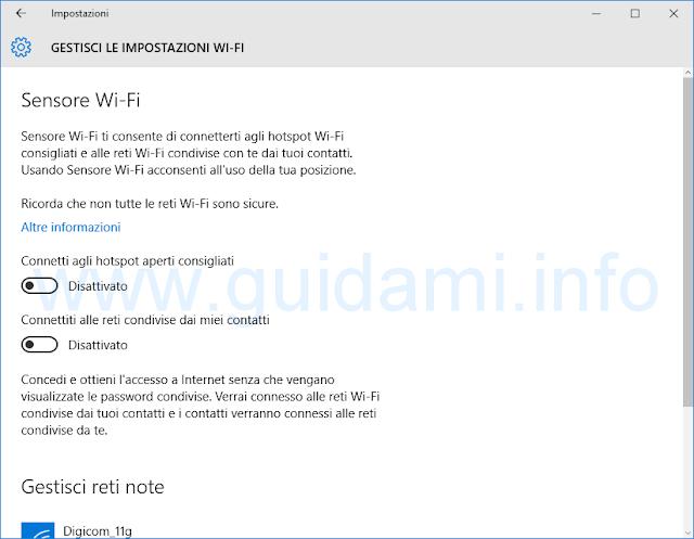 Sensore Wi-Fi Windows 10