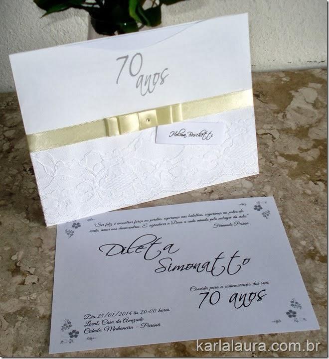 Convite de aniversário Dileta 70 anos