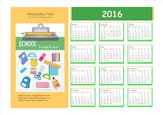 Free Printable 2016 Calendar For Kids
