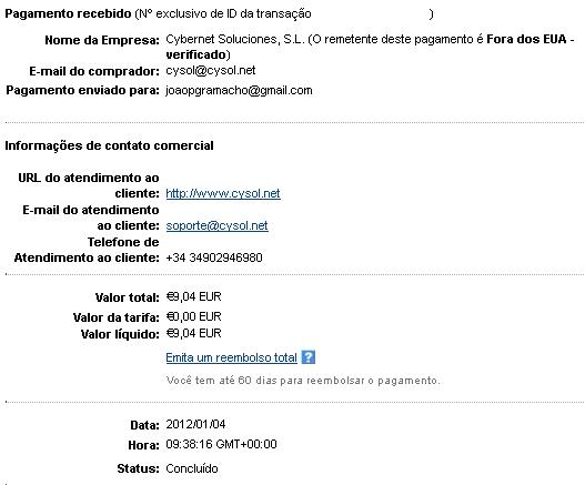 1ª Prova Pagamento Sumafan (9,04€)
