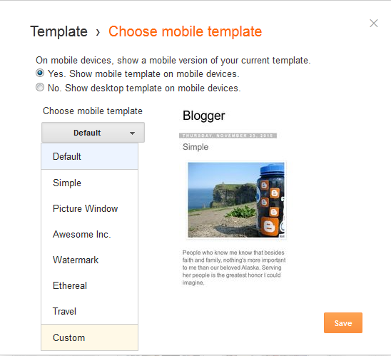 selecting mobile templates