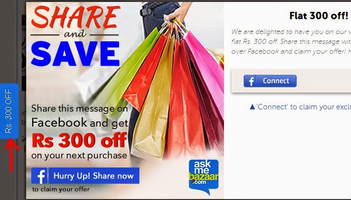 Signup with Facebook & Get AskMeBazaar Rs 300 Off Coupon