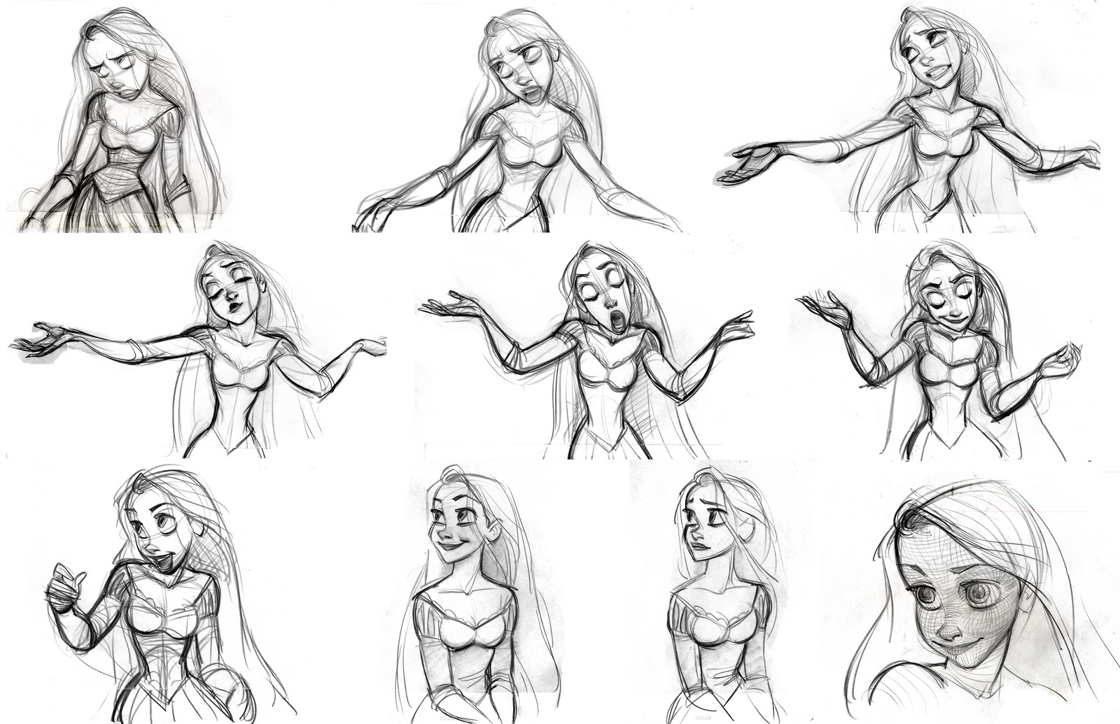 How To Draw Disney Style Characters Tangled Concept Art The Art Of