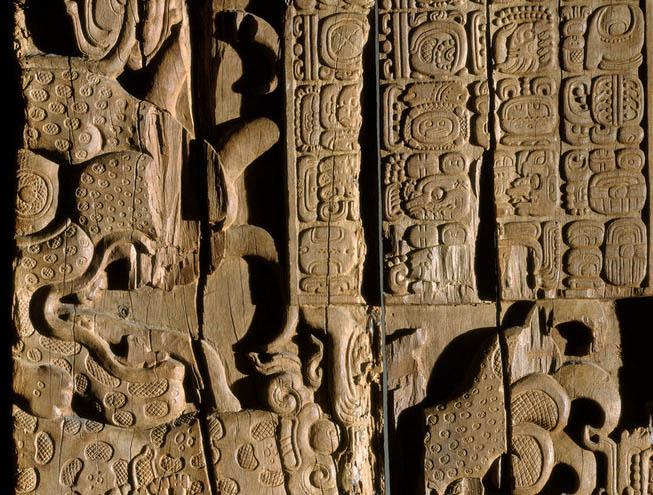 Ciudades en la ruta maya tikal y el gran jaguar - Dintel de madera ...