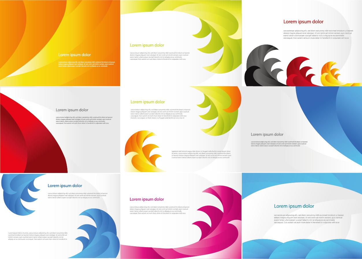 カラフルな波型の背景見本 Various Color Business Cards イラスト素材