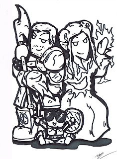 D&D Family Caricature, dungeons and dragons caricature