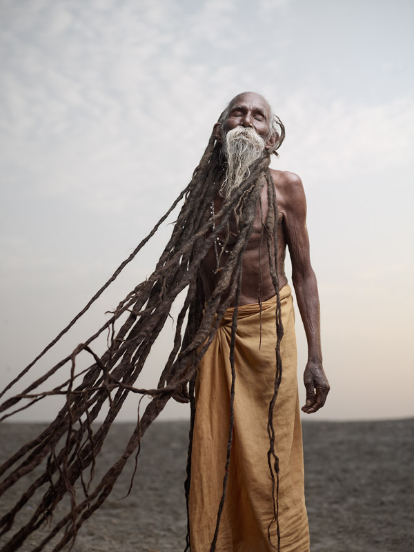 Lal Baba has dreadlocks (jatas) several meters long, which have been growing for over 40 years. To sadhus, dreadlocks are a sign of renunciation and a life dedicated to spirituality. Varanasi, India