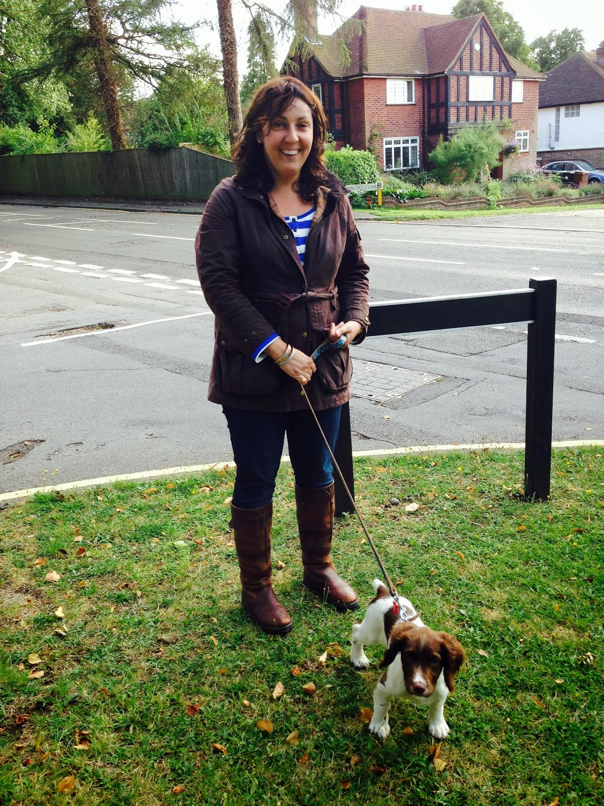 Jane Race, being taken for a walk in College Ward, by Billy, her English Springer Spaniel puppy!
