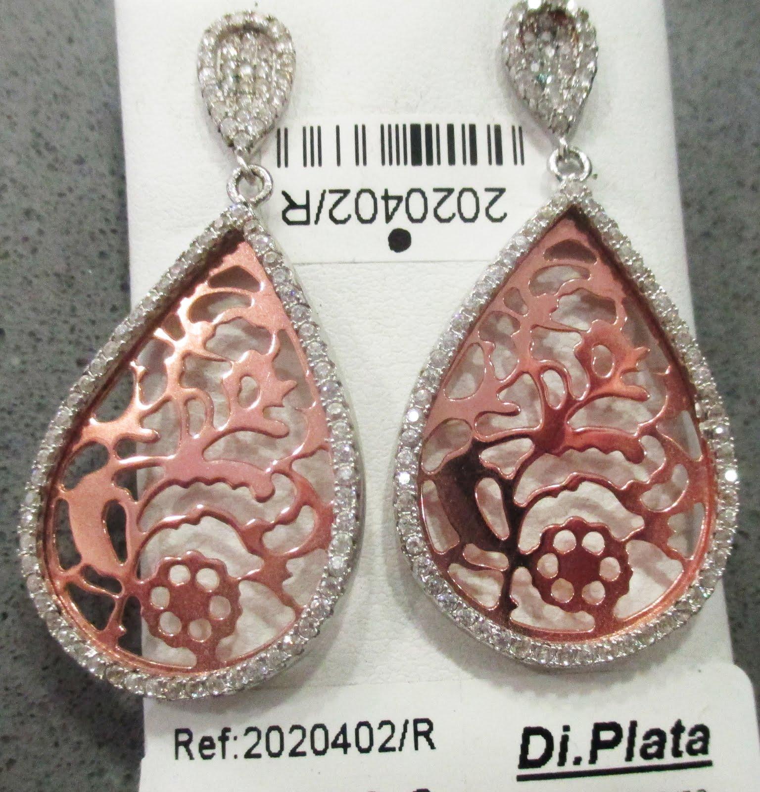 Pendientes de plata blanca y rosada, con circonitas