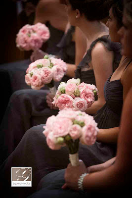 pink garden roses, brides maids bouquets, Flora Nova Design