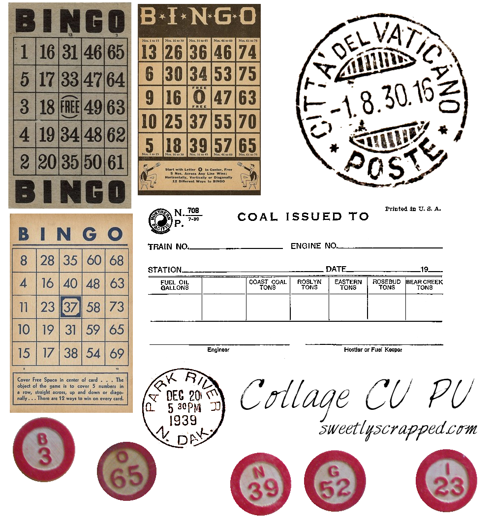 Sweetly Scrapped: ♥Free♥ Vintage Clipart, Bingo Cards, Digi Stamps ...