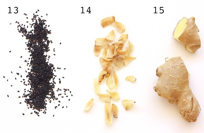 list of chinese medicinal herbs like black sesame seed, lily bulb, ginger root