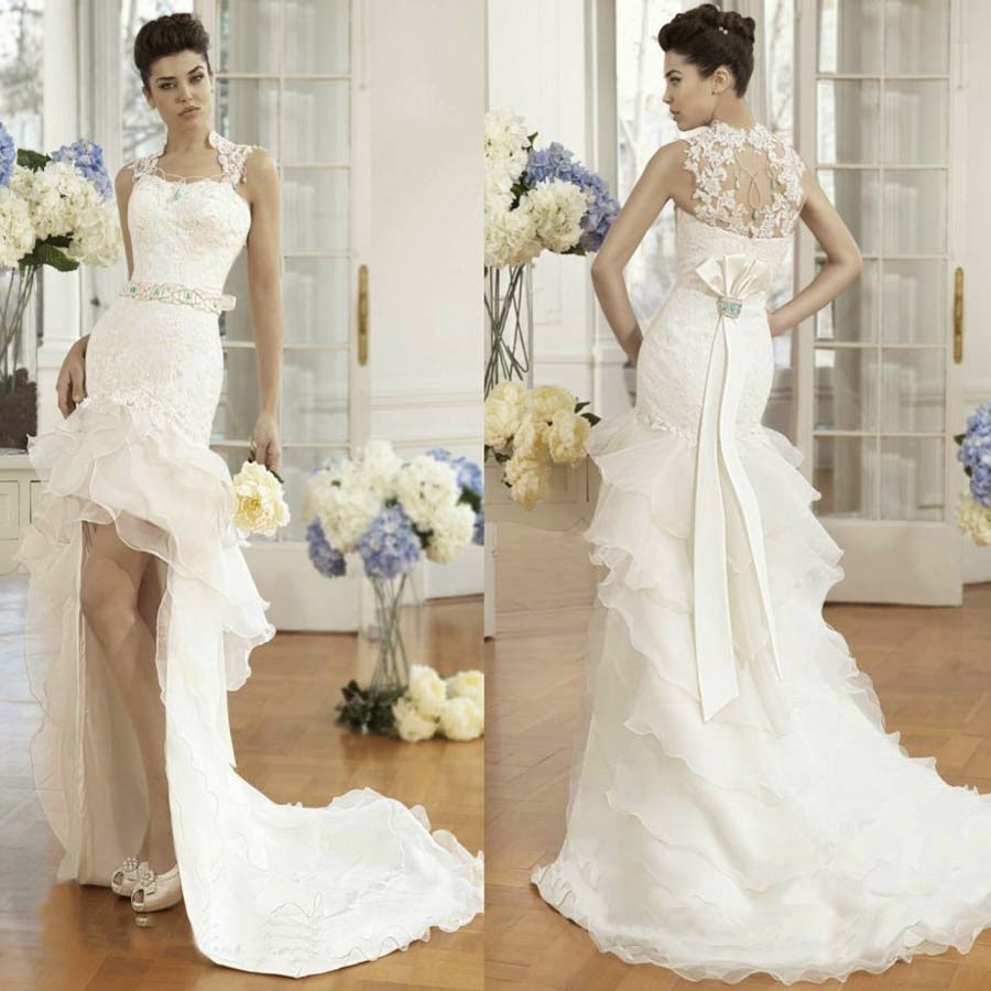 Wedding Dresses Short Front Long Train Design pictures hd