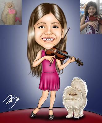 caricatura com gato pérsia e violino