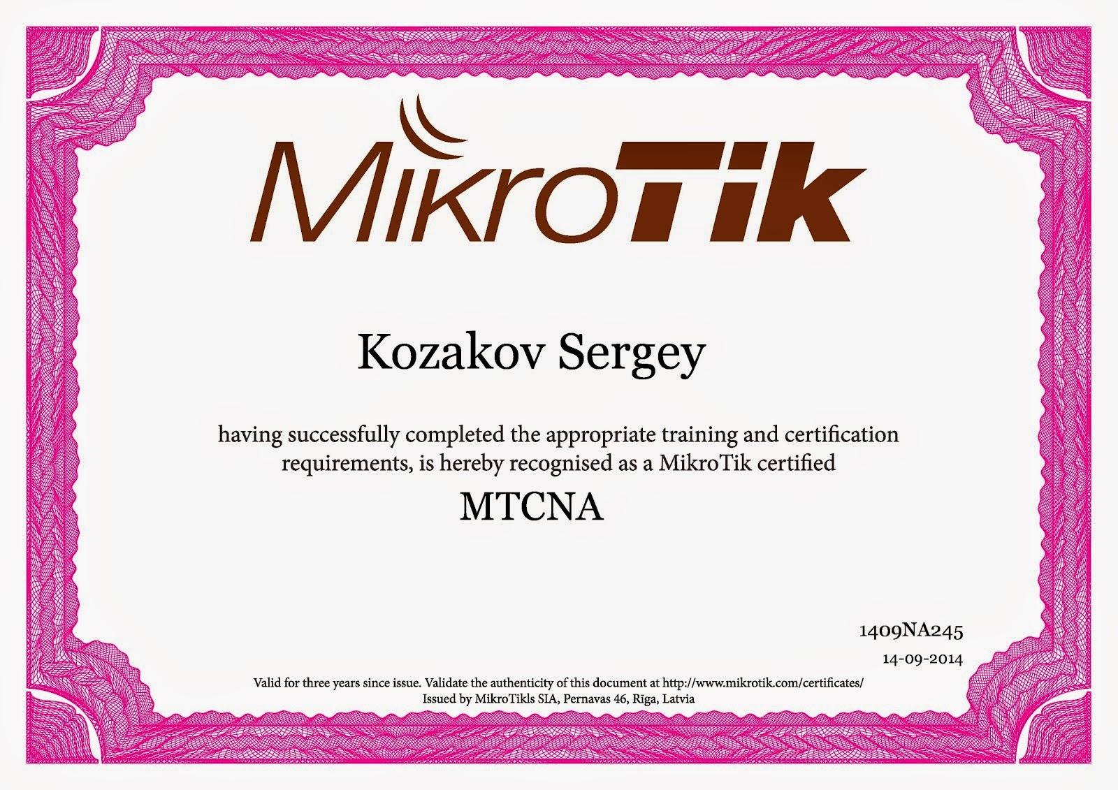 Certificate MTCNA