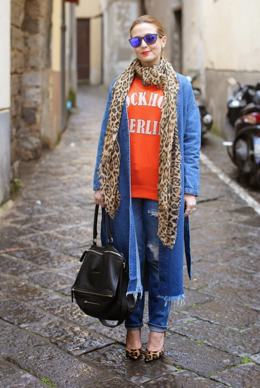 Monki, Monki belted denim jacket, long denim coat, denim long jacket, leopard pumps, Givenchy Pandora bag on Fashion and Cookies fashion blog, fashion blogger
