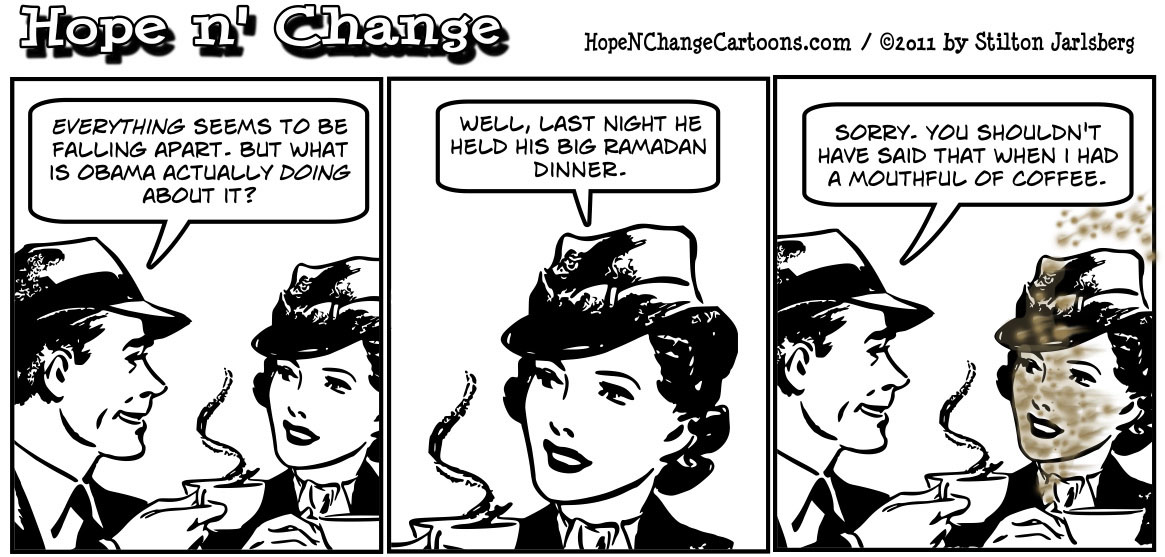 Barack Obama addresses the nation's woes by hosting a Ramadan dinner, hopenchange, hope and change, hope n' change, stilton jarlsberg, tea party