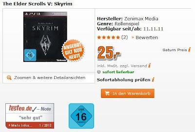 The Elder Scrolls V: Skyrim für PS3 für 25 Euro im Super-Sonntag von Saturn