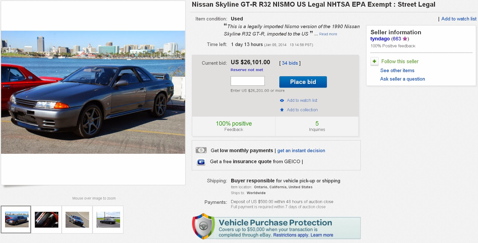 less than 24 hours remain to bid on the 500th ever made usa legal nismo nissan skyline gtr. Black Bedroom Furniture Sets. Home Design Ideas