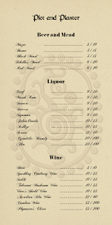 Plot and Plaster Drink Menu