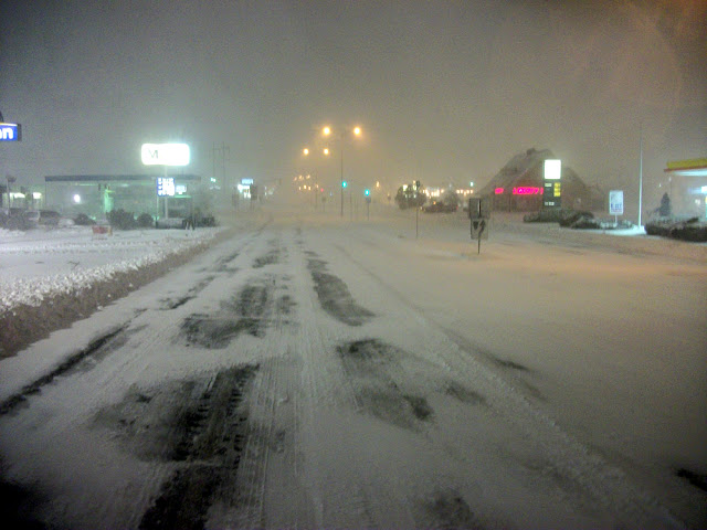 Endicott Street, Danvers, Massachusetts at 7:15pm on Friday, February 8, is Unusually Deserted