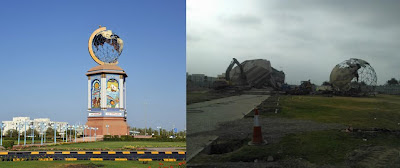 Sohar Oman Globe Roundabout taken down July 2012. The Globe Roundabout will be missed.
