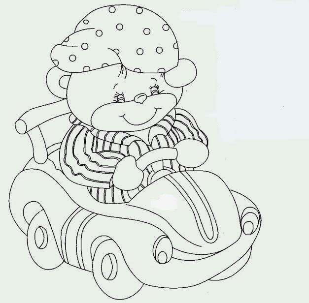 desenho ursinho dirigindo um carrinho para pintar
