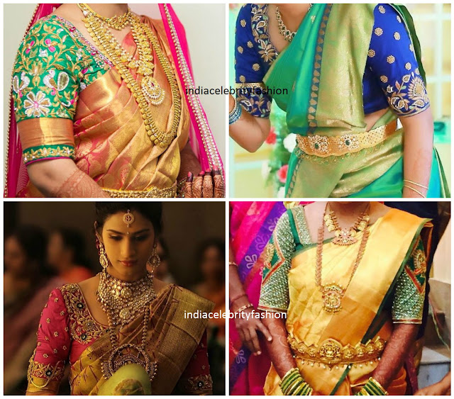 Embroidery work Blouse designs for Bridal silk sarees