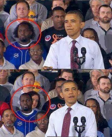Hombre negro detrás de Obama cambia de peinado en un instante.