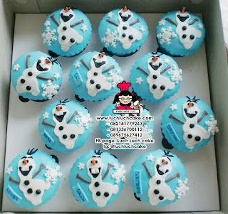 Cupcake Frozen Elsa and Olaf Fondant 2D
