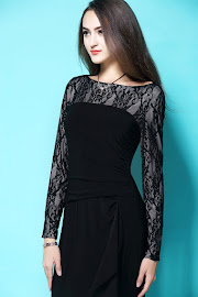 New 2017 Fully Lined Long Lace Sleeve Black Maxi