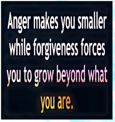 Anger makes you smaller while forgiveness forces you to grow beyond what you are.
