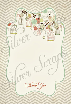 flat birdcage thank you card