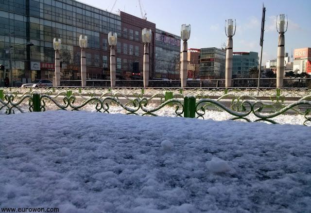 Nieve en una calle de Seúl