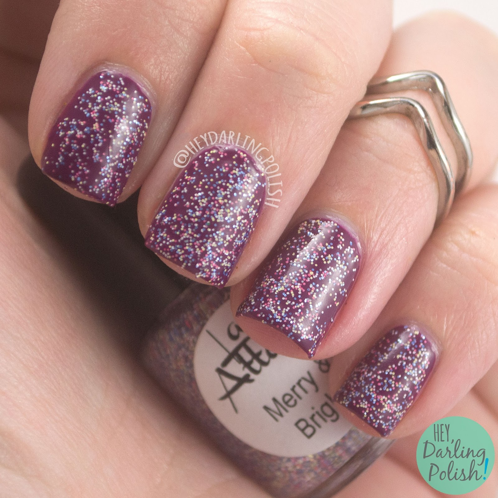 merry & bright, glitter, micro glitter, nails, nail polish, indie nail polish, indie polish, lac attack, festivus collection, christmas, holiday, hey darling polish, swatch, review