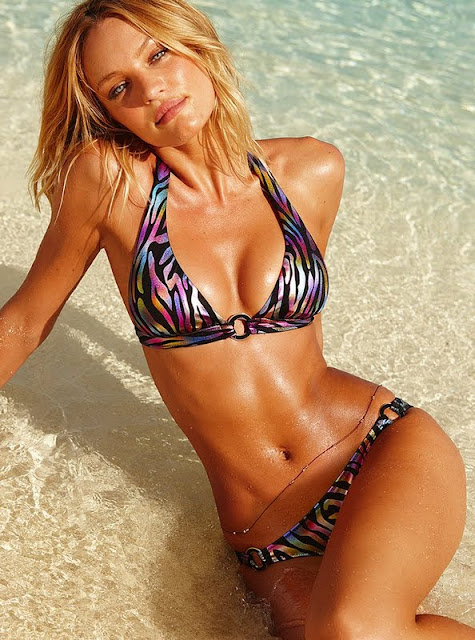 Candice Swanepoel in Bikini on Beach