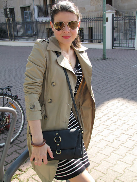 Stripe dress, trench coat